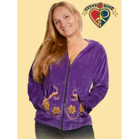 Day Of The Dead Velour Hoodie with Calavera Applique