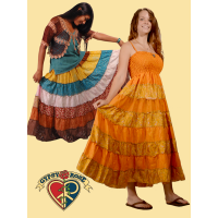 MULTI TIERED RECYCLED SARI FESTY SKIRT / DRESS