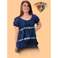 Electric Lady Triple Break Tye Dye Cap Sleeve Top with Snug-Fit Elastic Hem
