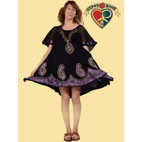 FREE FLYIN SHEER BUTTERFLY SLEEVE HAND BATIK EMBROIDERED MINI DRESS