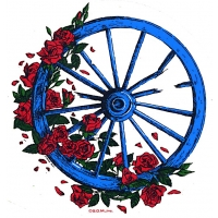 Grateful Dead Wheel And Roses 5 Inch Sticker