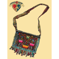 WOOD BEADED FRINGE VEGGIE DYE FINE GUIPILE & CORTE MESSENGER BAG