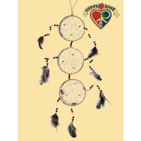 HEMP SACRED THOUGHTS FEATHER & WOODEN BEAD DREAMCATCHER