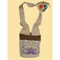 Lotus Of Love Embroidered And Beaded Cotton Lama Bag