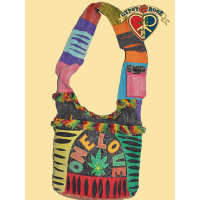 One Love Stonewashed Rippy & Fringed Rasta Peddler Bag