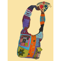 Bright Side Of Life Stonewashed Cotton Patchwork & Applique Peddler Bag