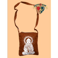 Buddha With Tree Print Cotton Tote Bag