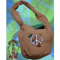 GRATEFUL DEAD PLAYFUL DANCING BEAR PEACE SIGN COTTON PEDDLER BAG
