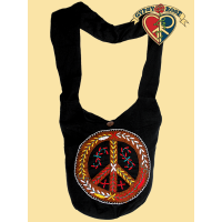 ADORNED PEACE SYMBOL PEDDLER BAG