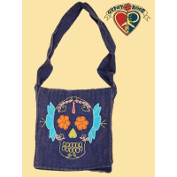 Day Of The Dead Cotton Stonewashed Bag with Calavera Applique