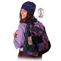 PATCH TYE DYE CORDUROY BACKPACK WITH PEACE SIGN