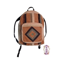 CORDUROY DIAMOND PATCHWORK BACKPACK