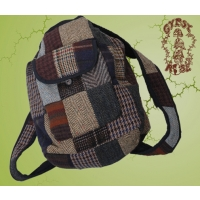 RECYCLED TWEED PATCHWORK TEAR DROP SLING BACKPACK