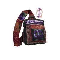 TYE DYE PATCHWORK CORDUROY CARRIER BAG WITH PEACE SIGN