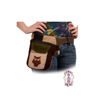 OWL TAG ALONG PATCH CORD HIP RIDER BAG W/OWL APPLIQUE