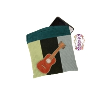 ROCK THE RHYTHM PATCHWORK RECYCLED CORDUROY TABLET CASE WITH GUITAR APPLIQUE