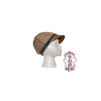 SADIE LADY PATCH TWEED CAP WITH CORDUROY BOW