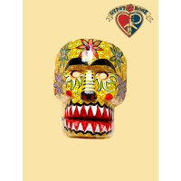 CULTURAL FESTIVAL HAND CARVED & PAINTED WOODEN CALAVERA DECORATIVE MASK
