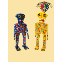 CULTURAL FESTIVAL HAND CARVED & PAINTED WOODEN DAY OF THE DEAD SKELETON