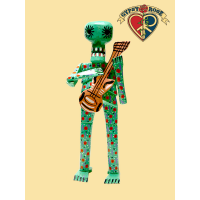 CULTURAL FESTIVAL HAND CARVED & PAINTED WOODEN MARIACHI SKELETON WITH GUITAR