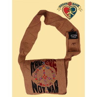 MAKE LOVE NOT WAR PEACE EMBROIDERED DJ COTTON BAG