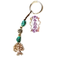 TREE OF LIFE BEAD & BONE KEYRING
