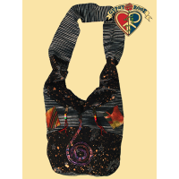 DARK STAR PRINTED PATCHWORK COTTON SHOULDER BAG