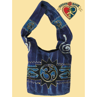 GOOD VIBES PRINTED & EMBROIDERED COTTON SHOULDER BAG