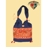 ALI-BABA GETAWAY COTTON BAG WITH PATCHWORK & EMBROIDERY