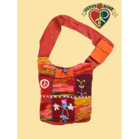 Peaceful Unity Wool Patchwork Front Tote Bag