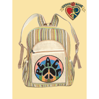 Peaceout Hand Embroidered Hemp and Gheri Backpack