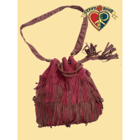 Vegan Chic Pseudo Suede Fringe Cinch Satchel Bag
