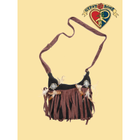 Vegan Chic Pseudo Suede Fringe Double Dreamcatcher Cross Bag