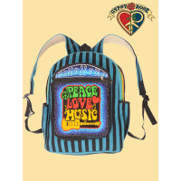 Peace Love Music Hand Embroidered Backpack