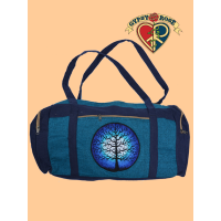 Sacred Tree Illuminated Hand Embroidered Cotton Travel Bag