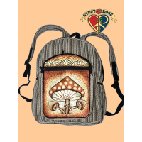 Triple Shroom Delight Hand Embroidered Gheri Backpack