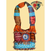 Great Spirit Patchwork Cotton Bag w/ Wolf Embroidery