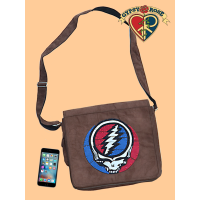 Grateful Dead Faux Suede Leather with Steal Your Face Patchwork DJ Bag