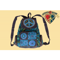 STONEWASH PEACE APPLIQUE & EMB BACKPACK