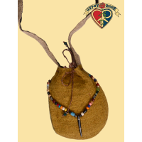 Dream Weaver Veg Dye Hemp Medicine Man Bag W/ Beadwork