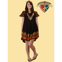HAND BATIK & EMBROIDERED SHEER SLEEVE PRINCESS DRESS