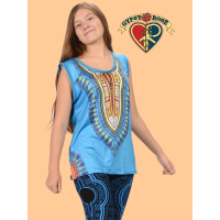 Good Rockin' Tonight Dashiki Print Sheer-back Stretch Tank Top