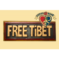 """Free Tibet""  Painted Wooden Plaque Wall Hanging"