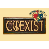 """Coexist"" Painted Wooden Plaque Wall Hanging"