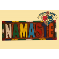 """Namaste"" Painted Wooden Wall Plaque"