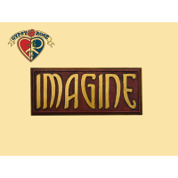 IMAGINE PAINTED WOODEN WALL PLAQUE WALL HANGING
