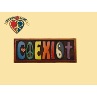 COEXIST COLORED PAINTED WOODEN WALL PLAQUE WALL HANGING