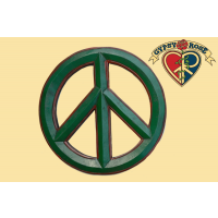 LARGE PEACE SYMBOL PAINTED WOODEN WALL WALL HANGING