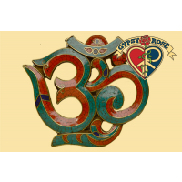 Blissful State Of Om Hand Carved with  Turquoise, Jade & Lapis Mosaic Inlay & Brass Scrollwork Wall Hanging