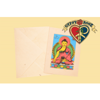 Meditating Buddha 5-Pc Hand Made Lokta Paper Card & Envelope Set